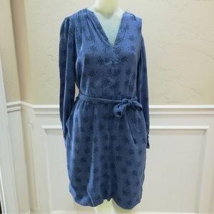 Boden periwinkle patterned long sleeve dress